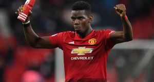 "Paul Pogba celebrates Manchester United's win over Spurs at Wembley. ""I am enjoying my football now. I like to be more attacking. I had to defend too much before and that is not my best attribute."" Photograph: Facundo Arrizabalaga/EPA"