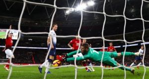 De Gea saved United at least four times with his feet, adopting that strange leg-wobbling Elvis move whereby he seems to lose all tension in his body, to collapse like a papier mache doll, feet flopping into just the right spot to block some goal-bound bullet. Photograph: Getty Images