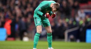 Manchester United goalkeeper David de Gea celebrates during his team's win over Tottenham at Wembley Stadium. Photograph: PA