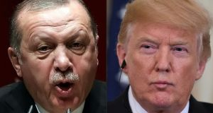 Turkish president Recep Tayyip Erdogan and US president Donald Trump. Turkey's presidential spokesman said on Monday  that Mr Trump should respect Washington's alliance with Ankara. Photograph:  Adem Altan, Saul Loeb/AFP/Getty Images