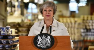Britain's prime minister Theresa May speaks at a  factory in  Stoke-on-Trent on Monday where she  called on MP's to support her Brexit bill in a vote on Tuesday. Photograph: AFP