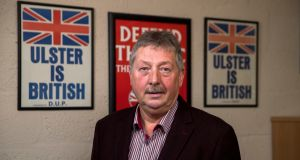 "Sammy Wilson, DUP MP in  his constituency office in Larne, Co Antrim: ""For 40 years the IRA tried to separate us from the rest of UK but failed. In my opinion this agreement would separate us from the rest of the UK."". Photograph: Liam McBurney for The Irish Times"