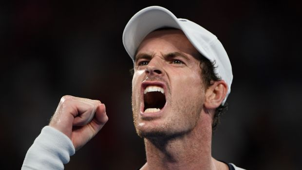 Andy Murray celebrates a point won during his first round defeat at the Australian Open. Photograph: Getty Images