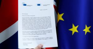 A copy of a joint letter from European Commission President Jean-Claude Juncker and EU Council President Donald Tusk sent to British prime minister Theresa May. Photograph: Francois Lenoir/Illustration/Reuters