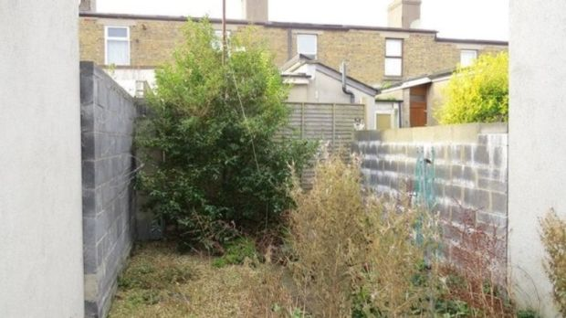 Before: the rear garden at 17 Library Road, Dún Laoghaire.