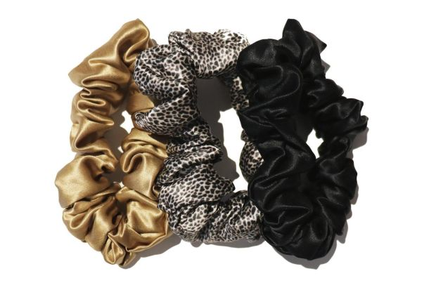 SLIP black, gold and leopard scrunchies, €45 at net-a-porter.com