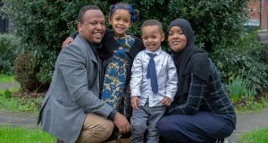 Nasir Yasin   with his wife Samsam Ahmed Hassan, daughter Mawaahib (3) and son Mohamed (2). Photograph: Ciara Wilkinson
