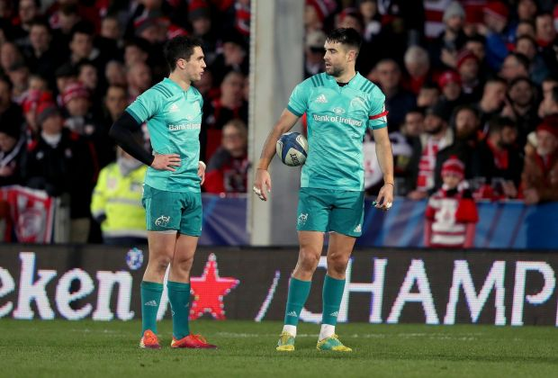 Carbery and Murray during the Champions Cup win over Gloucester. Photo: Dan Sheridan/Inpho