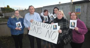 Protest against the Church of Scientology development in Ballivor, Co Meath, last year:  Claire O'Mara, Cllr Noel French, Karen Traynor, Vivienne Lyons, Sue Davis and Pamela O'Riordan. Photograph: Seamus Farrelly