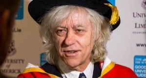 Bob Geldof speaking  at  University of Limerick where he received an honorary doctorate. Photograph: Sean Curtin/True Media/PA Wire