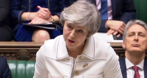 British prime minister Theresa May issues her latest statement on Brexit to MPs in the House of Commonson Monday. Photograph: PA Wire