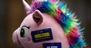 Unicorn during a demonstration opposite the Houses of Parliament as pro-European demonstrators protest in London. Photograph: Frank Augstein/AP Photo