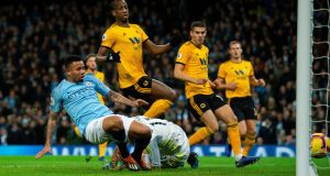 Manchester City's Gabriel Jesus scores the opening goal during the Premier League win over Wolverhampton Wanderers at the Etihad Stadium. Photo: Peter Powell/Getty Images