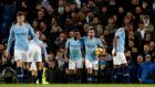 Manchester City closed the gap on Liverpool to four points with a win over Wolves. Photograph: PA