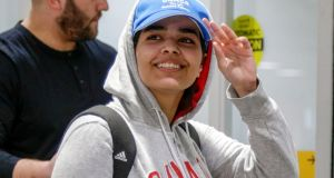 Rahaf Mohammed al-Qunun arrives at Toronto Pearson International Airport in Toronto on January 12th, 2019.Photograph: Reuters