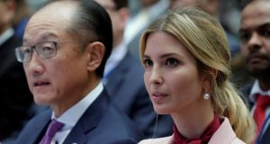 Ivanka Trump, pictured with departing World Bank chief Jim Yong Kim,  will help manage the Trump administration's selection of a US candidate for the position of World Bank president, a White House official said. Photograph: Yuri Gripas/ Reuters