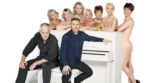 Tim Firth and Gary Barlow with the cast of Calendar Girls including Rebecca Storm. Fern Britton, Sara Crowe, Denise Welch, Ruth Madoc, Karen Dunbar and Anna Jane Casey