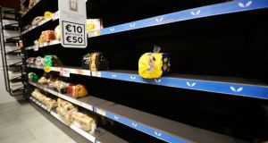 Bare shelves during the Beast from the East  showed how reliant we are on food from the UK. Photograph: Cyril Byrne