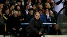 Leeds United manager Marcelo Bielsa watches on during the Championship match with Derby County. Photo: Simon Cooper/PA Wire