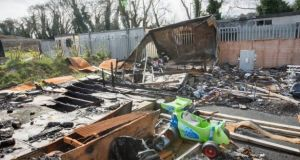 A file image of the Glenamuck Road halting site in Co Dublin where 10 people died in a fire in October 2015. Photograph: Brenda Fitzsimons/The Irish Times