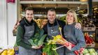 Robbie Malone, his son Dean and sister Tina Norton at Robbie's Greengrocer in Kilmacud, Dublin. James Forde for the Irish Times