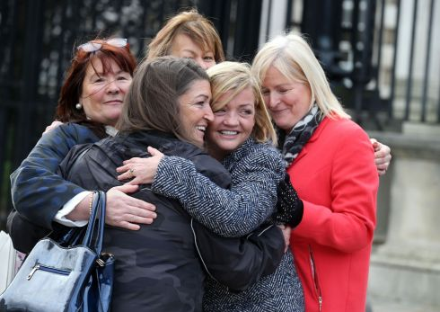 Deborah McGuinness (right-centre) , sister of Thomas McErlane attends a hearing at Belfast High Court on Tuesday. Loyalist killer Michael Stone must serve a further five-and-a-half years in prison before he can be considered for release, the High Court ruled today. Photograph: Colm Lenaghan/Pacemaker