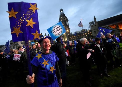 Anti-Brexit protesters demonstrate outside the Houses of Parliament, ahead of the vote. Photograph: Clodagh Kilcoyne/Reuters