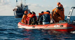 Migrants are rescued in the Mediterranean Sea: the EU has allocated more than €300 million to Libya with the aim of stopping migration. Photograph: EPA/Alexander Draheim