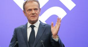 "European Council president Donald Tusk:  ""If a deal is impossible, and no one wants no deal, then who will finally have the courage to say what the only positive solution is?""  he tweeted. Photograph: AFP Photo/Ludovic Marin/Getty Images"
