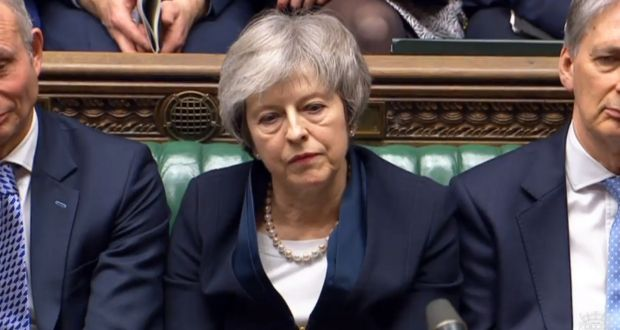 British prime minister Theresa May in the House of Commons on Tuesday. Under a future amendment MPs could attempt to make a no-deal Brexit illegal. Photograph: EPA/Parliamentary handout