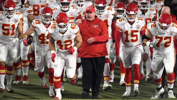 Kansas City Chiefs head coach Andy Reid enters the field with his team before the start of the game against the Los Angeles Rams at Los Angeles Memorial Coliseum in November. Photograph: Kevork Djansezian/Getty Images