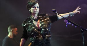 Dolores O'Riordan of the Cranberries performing on stage in 2016.