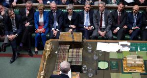 British prime minister Theresa May surrounded by ministerial colleagues during the Brexit debate and subsequent vote. Photograph: PA