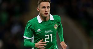 Northern Ireland international footballer Gavin Whyte is to be disciplined after a video emerged of him walking through Belfast city centre semi-naked and engaged in a lewd act. File image: Liam McBurney/PA Wire.