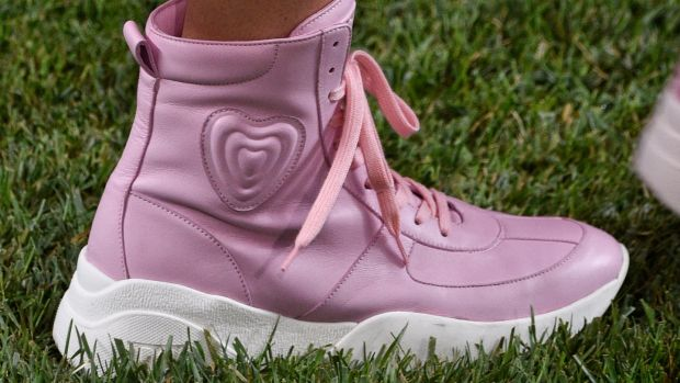 Escada candy-pink basketball trainers. Photograph: Pietro D'aprano/FilmMagic