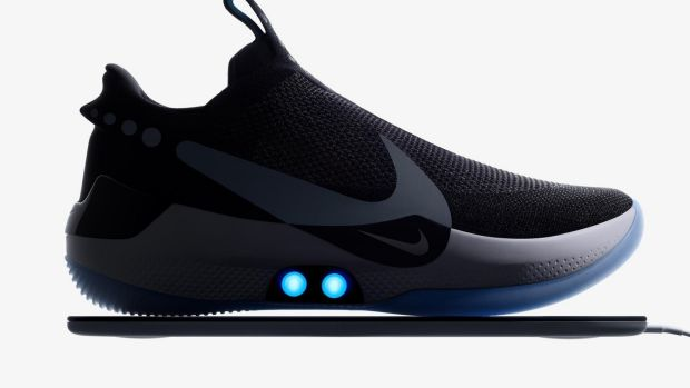 Look, no hands: Nike is producing trainers with 'power laces' that can be controlled by smartphone. Photograph: Nike via PA.