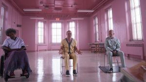 Samuel L Jackson, James McAvoy and Bruce Willis in 'Glass'