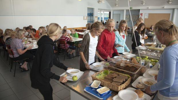 Children having lunch at school in Finland. Every child is entitled to a hot meal every day. Photograph: Fishman Ullstein/Getty