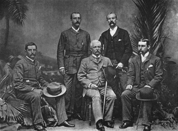 Thomas Heazle Parke, Robert H. Nelson, Henry M. Stanley, William G. Stairs, and Arthur J. M. Jephson, officers of the Advance Column of the Emin Pasha Relief Expedition, taken in Cairo 1890 after the expedition. Photograph: Henry M. Stanley's 'In Darkest Africa'/Wikimedia Commons