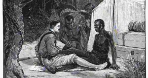 Thomas Heazle Parke undergoing a 'blood brotherhood ritual'. Illustration from Heazle Parke's book, 'My personal experiences in equatorial Africa as medical officer of the Emin Pasha relief expedition'/ Wikimedia Commons