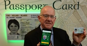 Minister for Justice Charlie Flanagan launching the passport card in 2015. Photograph: Cyril Byrne