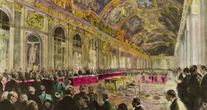 Engraving. The Versailles Conference in the Hall of Mirrors of the Palace of Versailles, June 28th, 1919. President Clemenceau opens the session. Private Collection. (Photo by: Christophel Fine Art/UIG via Getty Images)