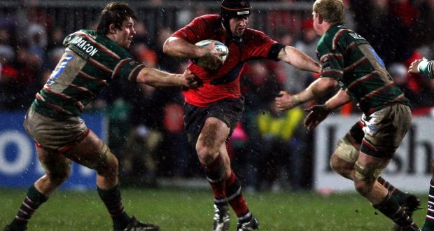 f21f9aa1ec0 Munster's Denis Leamy gets tackled by Leo Cullen and Louis Deacon of  Leicester in Munster's Heineken