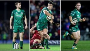 (Left to right) Jack Carty, Tom Farrell and Caolin Blade have all been called into the Ireland squad for the first time ahead of the Six Nations. Photo: Inpho
