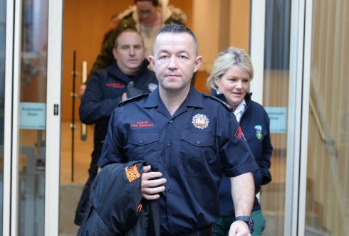 CARRICKMINES FIRE: Firefighters and paramedics are pictured after giving evidence at an inquest into 10 deaths in a halting site fire in Carrickmines in 2015. Photograph: Alan Betson/The Irish Times