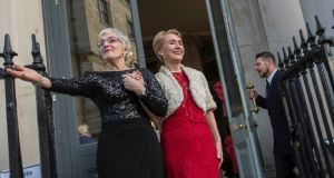 Katherine Zappone and Anne Louise Gilligan  at City Hall in Dublin on their wedding day in 2016. Photograph: Brenda Fitzsimons