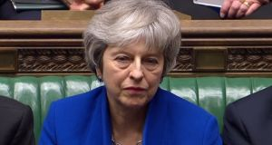 UK prime minister Theresa May listens during a debate on a motion of no confidence. Photograph: AFP/Getty Images