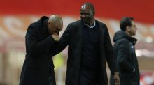 Monaco's  coach Thierry Henry and Nice's  coach Patrick Vieira react at the end of the French Ligue 1 match between Monaco and Nice  at the Stade Louis II on Wednesday.Photograph: Valery Hache/AFP/Getty Images