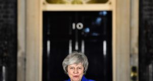 Theresa May delivers a statement to members of the media in Downing Street in London Photograph Ben Stansal / AFP