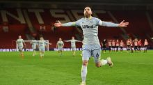 Derby County's Richard Keogh celebrates after scoring the winning penalty in the shoot-out during the FA Cup third round replay between Southampton and Derby County at St Mary's Stadium. Photo: Glyn Kirk/Getty Images